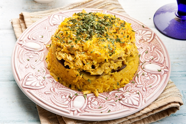 Αραβική Maklooba με κοτόπουλο και λαχανικά