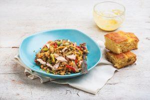 Φακές στο τηγάνι με φρέσκο σολωμό και ντρέσινγκ μουστάρδας-featured_image