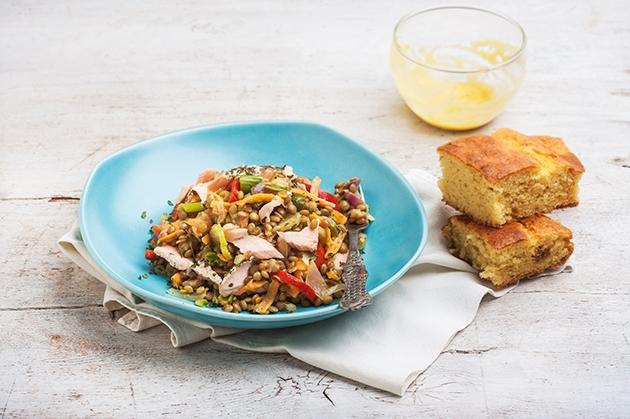 Φακές στο τηγάνι με φρέσκο σολομό και ντρέσινγκ μουστάρδας-featured_image