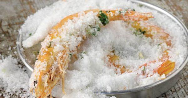 Γαρίδες ψημένες κρούστα αλατιού