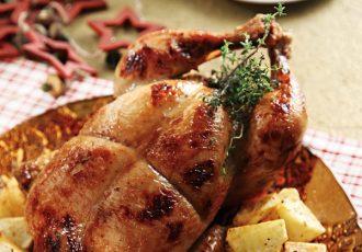 κοτόπουλο στη γάστρα γεμιστο