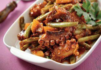 χταπόδι με λαδερά λαχανικά