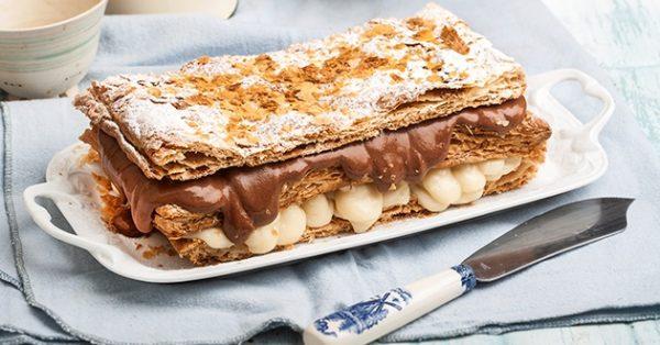 μιλφέιγ με κρέμα σοκολάτα βανίλιαμιλφέιγ με κρέμα σοκολάτα βανίλια