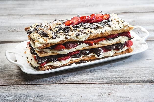 Μιλφέιγ μπισκότο με φράουλες