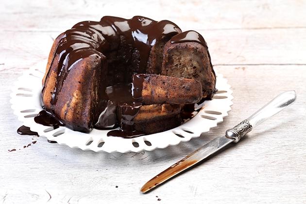 Μπανάνα κέικ με κρέμα σοκολάτας