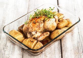 hasselback πατάτες ακορντεόν με κοτόπουλο στο φούρνο