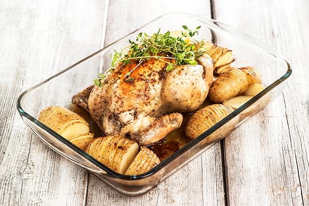 Κοτόπουλο με πατάτες ακορντεόν (Hasselback)