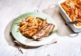 πανσέτα με ζυμαρικά φούρνου πένες με σάλτσα ντομάτας στο φούρνο εύκολη συνταγή