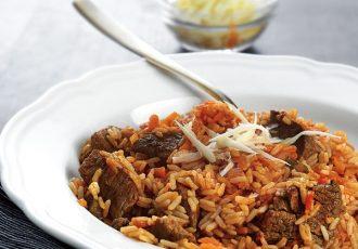 μοσχάρι κοκκινιστό με ρύζι