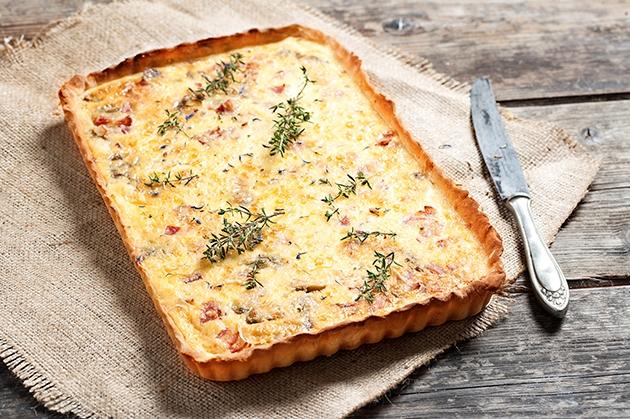 Quiche Lorraine με ζύμη πίτσας