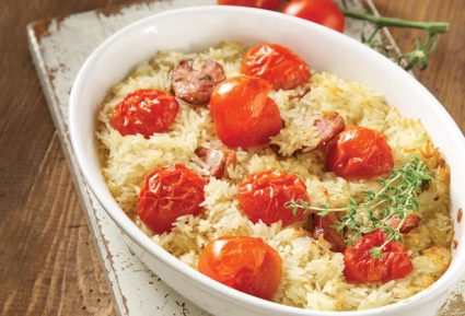 Ρύζι φούρνου με ντοματίνια και λουκάνικο-featured_image