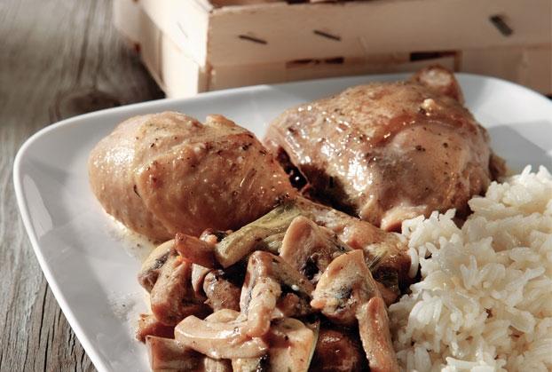 Σκορδάτο κοτόπουλο στο φούρνο με μανιτάρια