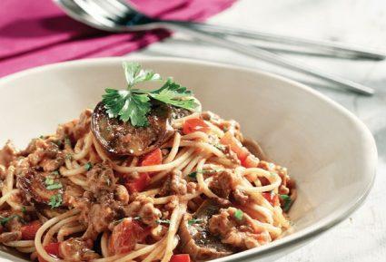 Σπαγγέτι μπολονέζ με μελιτζάνα, πιπεριά και γιαούρτι-featured_image
