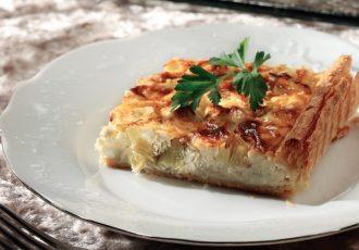 αλμυρη τάρτα με πράσο και κρέμα τυριών πράσα συνταγη αργυρω