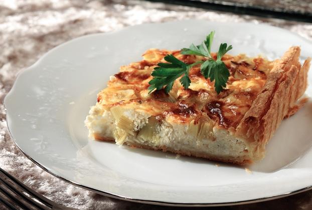 Τάρτα με πράσο και κρέμα τυριών