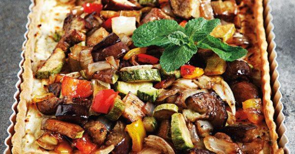 αλμυρή τάρτα με ψητά λαχανικά