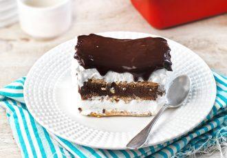 τούρτα εκλέρ ταψιού γλυκό ψυγείου συνταγη