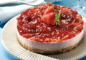 τσιζκέικ φράουλα cheesecake συνταγη