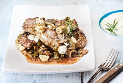 Χοιρινά μπριζόλακια με χαλούμι, λαχανικά και μπίρα-featured_image