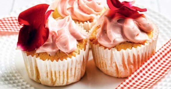 ροζ cupcakes τριαντάφυλλο λουλούδια συνταγη αργυρω