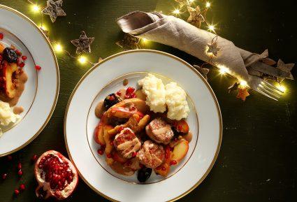 Ψαρονέφρι με κρεμώδη σάλτσα κρασιού, χειμωνιάτικα φρούτα και πούρε-featured_image