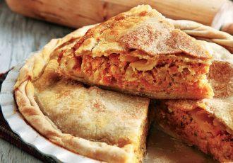 αλμυρή πίτα με κίτρινη κολοκύθα και φέτα κολοκυθόπιτα