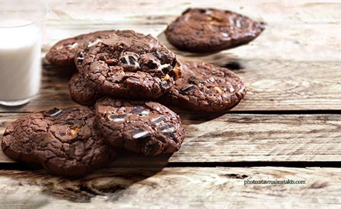 Μπισκότα (Cookies) διπλής σοκολάτας