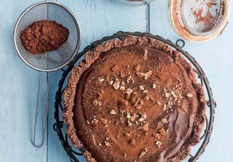 νηστίσιμη τάρτα σοκολάτας χωρίς ζάχαρη χωρις αυγά χωρίς βουτυρο χωρις ψησιμο συνταγη βαση σοκολατα