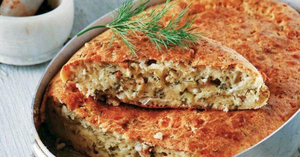 εύκολη τυρόπιτα χωρίς φύλλο με γιαούρτι, γάλα, αυγά και λάδι συνταγη αργυρω