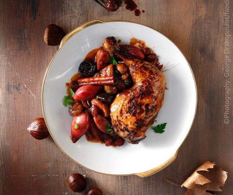 Πικάντικο κοτόπουλο με αποξηραμένα φρούτα