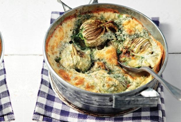 Σφουγγάτο με κολοκυθοανθούς και καλοκαιρινά λαχανικά