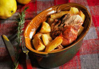 χοιρινό με κυδώνια στη γαστρα στο φούρνο κρέας συνταγη αργυρω