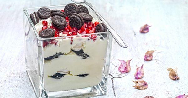 trifle τράιφλ με γεμιστά μπισκότα χριστουγεννιάτικο γλυκό