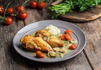 φιλέτο κοτόπουλο με μουστάρδα και μανιταρια στο τηγανι συνταγη