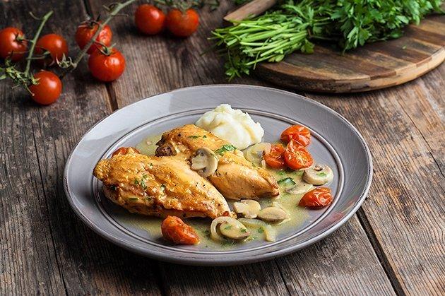 Φιλέτο κοτόπουλο με μουστάρδα και μανιτάρια
