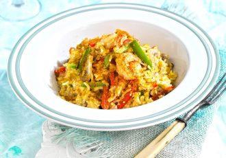 γαρίδες με ρύζι και κάρυ συνταγη