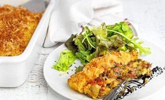 κιμαδόπιτα χωρίς φύλλο κιμάς με πουρέ στο φούρνο συνταγη αργυρω