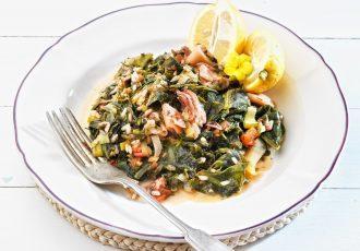 λεμονάτα καλαμαράκια με σπανάκι στην κατσαρόλα συνταγη