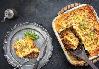 πίτα του βοσκού με πουρέ πατάτας και κιμά συνταγη