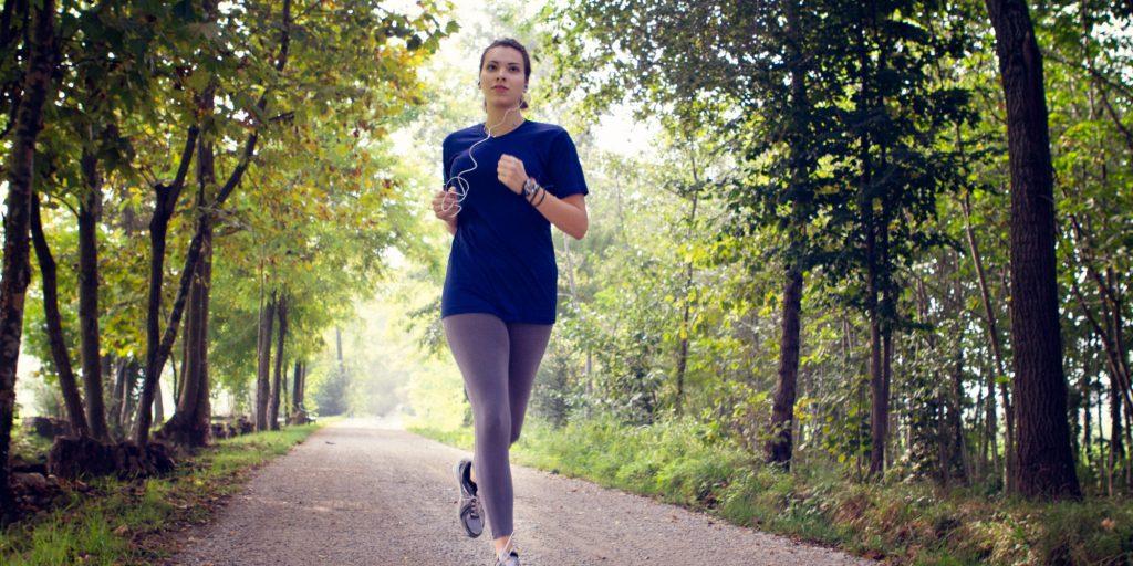 girl running in the morning