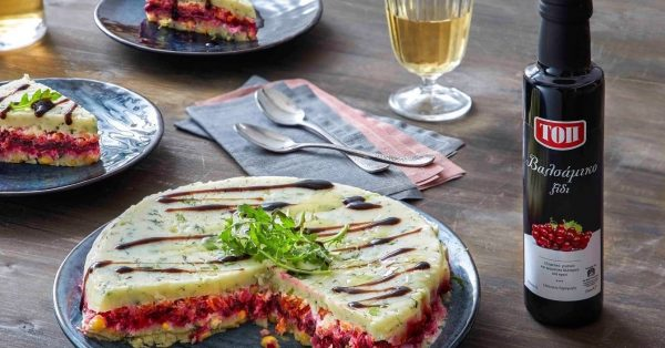 χρωματιστη σαλάτα τούρτα παντζαρι για μπουφε πολυχρωμη