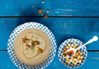 συνταγη μανιταρόσουπα βελουτέ με καστανα