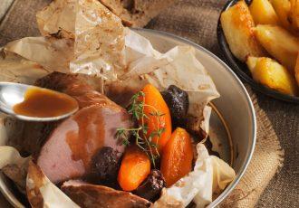 γιορτινό μοσχάρι νουά με δαμάσκηνα στο φούρνο συνταγη αργυρω
