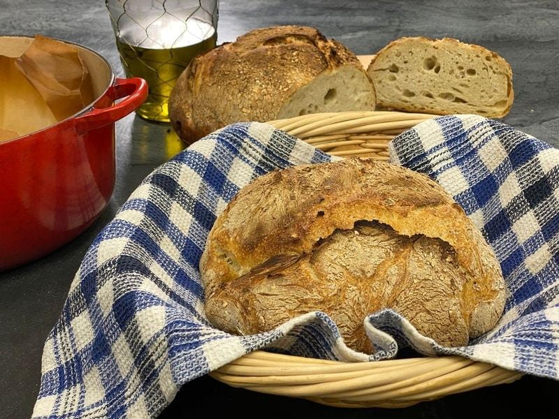εύκολο ψωμί χωρίς ζύμωμα φρατζόλα σαν προζύμι συνταγη