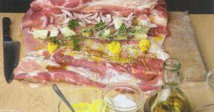 Αναποδογυρίζουμε το κρέας ώστε να βλέπουμε την από μέσα κομμένη πλευρά. Απλώνουμε τη γέμιση σύμφωνα με τις οδηγίες της συνταγής.