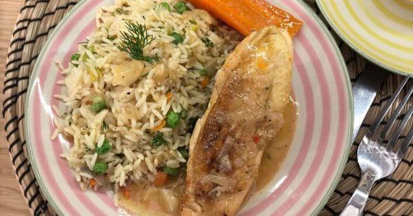 κοτόπουλο λεμονάτο στην κατσαρόλα με ρύζι κατσαρόλας