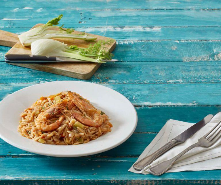 Κριθαρότο με γαρίδες & άρωμα θάλασσας
