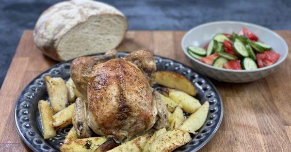 Κοτόπουλο με πατάτες στο φούρνο λεμονάτο