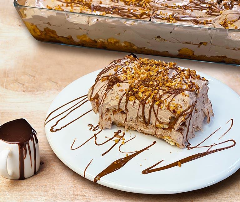 γλυκό ψυγείου με μπισκότα - το πιο ευκολο γλυκο ψυγειου με πτι μπερ μπισκοτα αργυρω