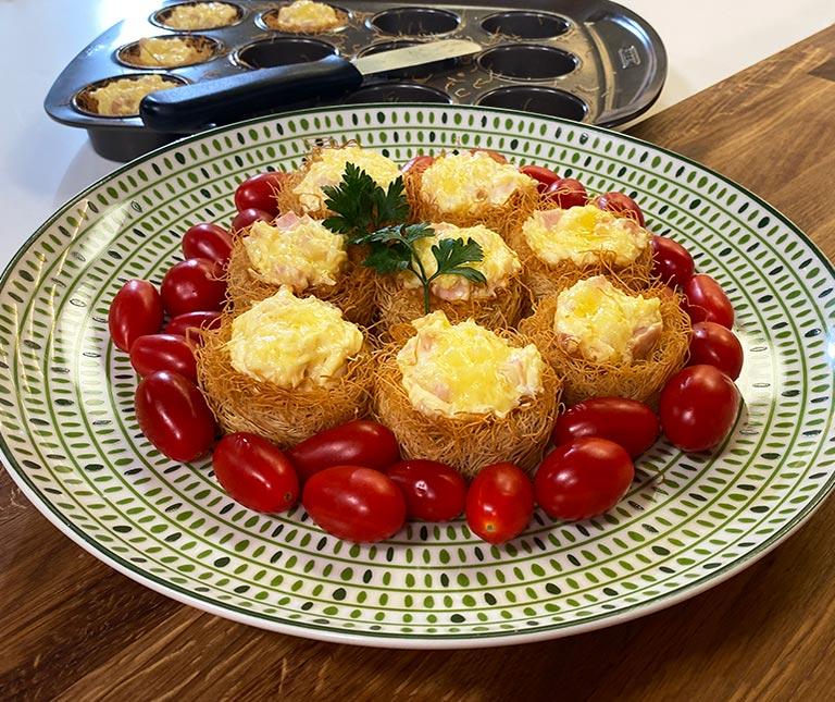 Φωλιές κανταΐφι με τυριά
